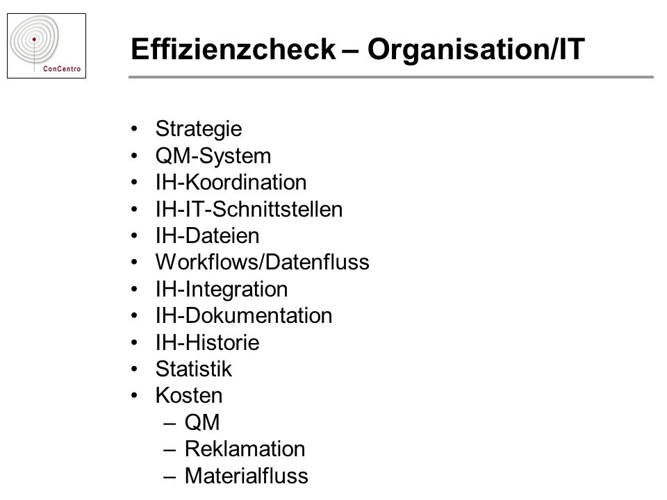 Effizienzcheck – Organisation/IT