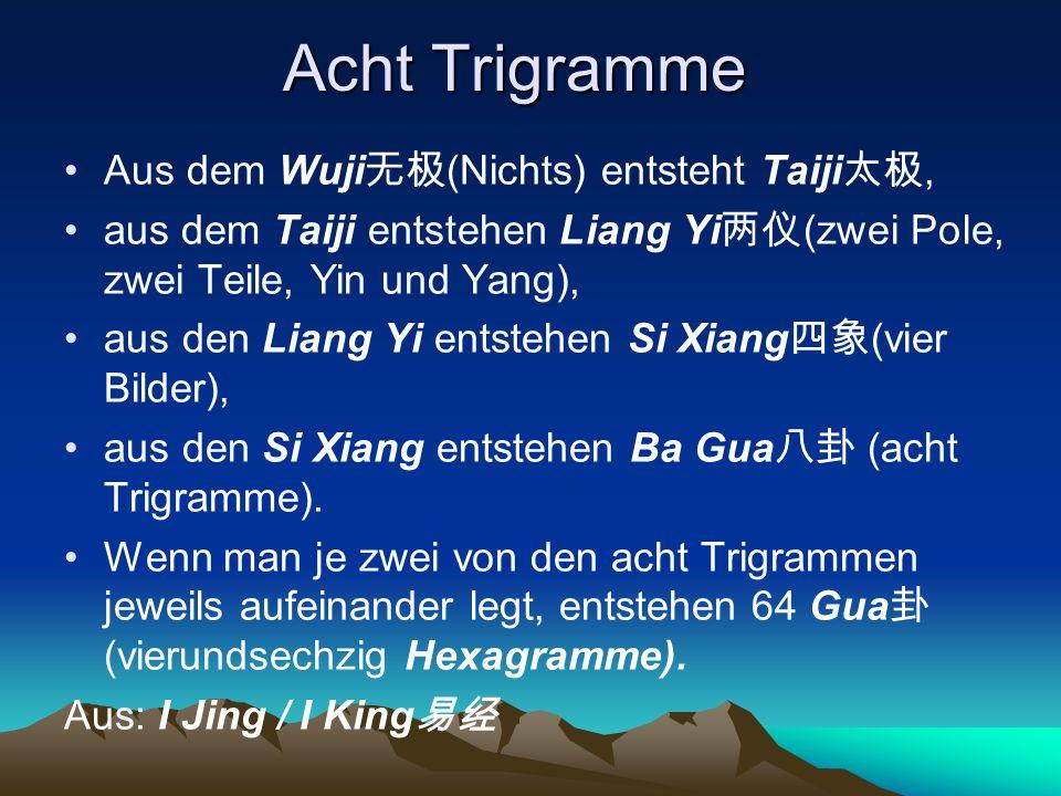 Acht Trigramme Aus dem Wuji无极(Nichts) entsteht Taiji太极,