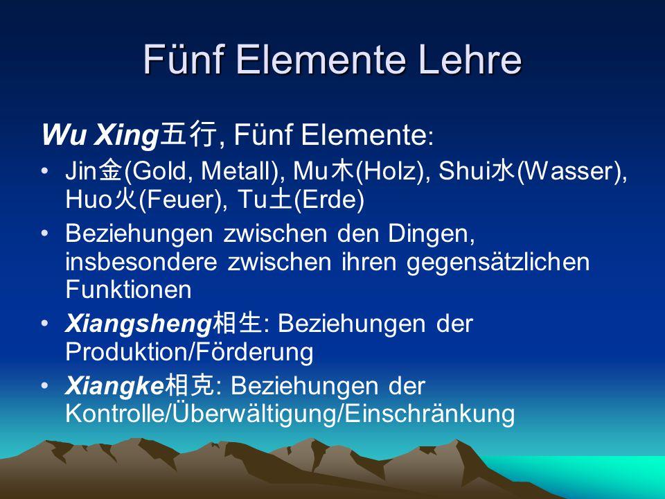 Fünf Elemente Lehre Wu Xing五行, Fünf Elemente: