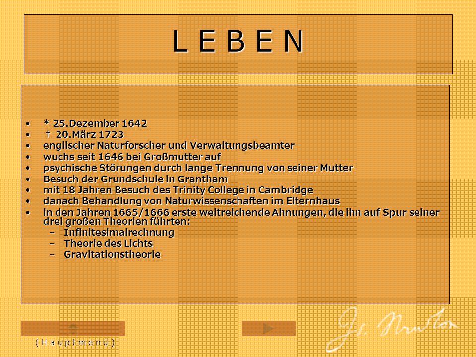 L E B E N * 25.Dezember 1642. † 20.März 1723. englischer Naturforscher und Verwaltungsbeamter. wuchs seit 1646 bei Großmutter auf.