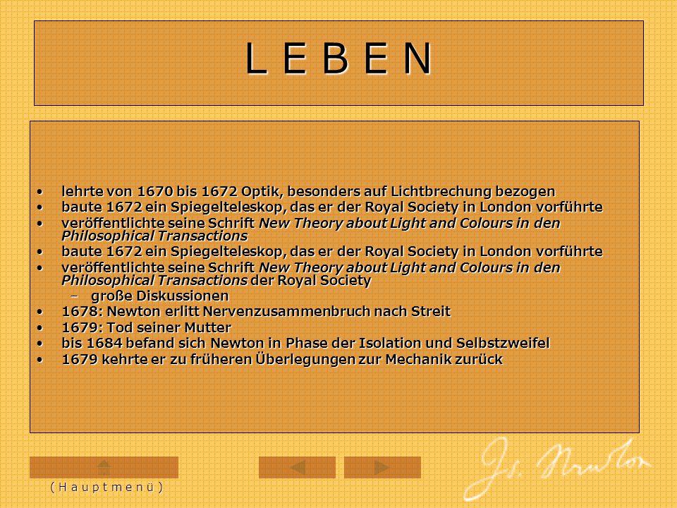 L E B E N lehrte von 1670 bis 1672 Optik, besonders auf Lichtbrechung bezogen.