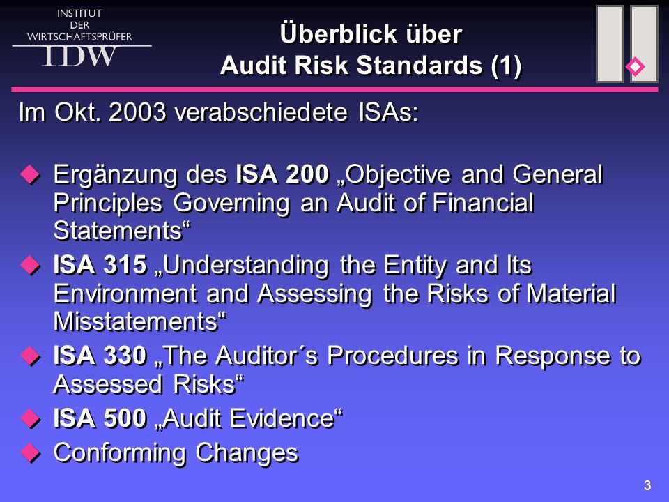 Überblick über Audit Risk Standards (1)