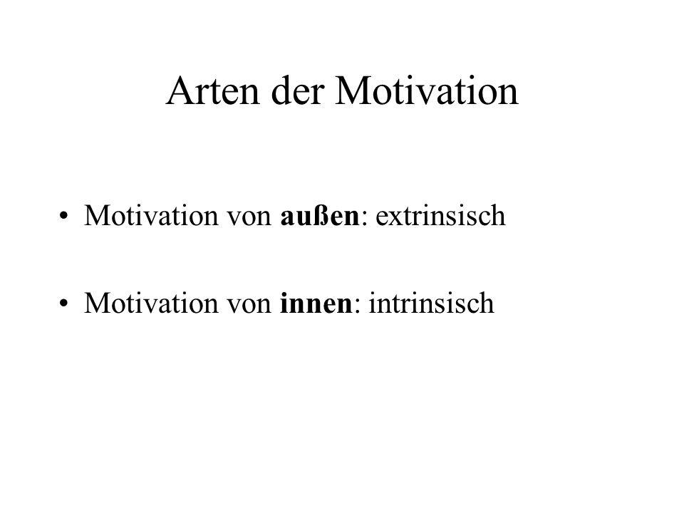 Arten der Motivation Motivation von außen: extrinsisch
