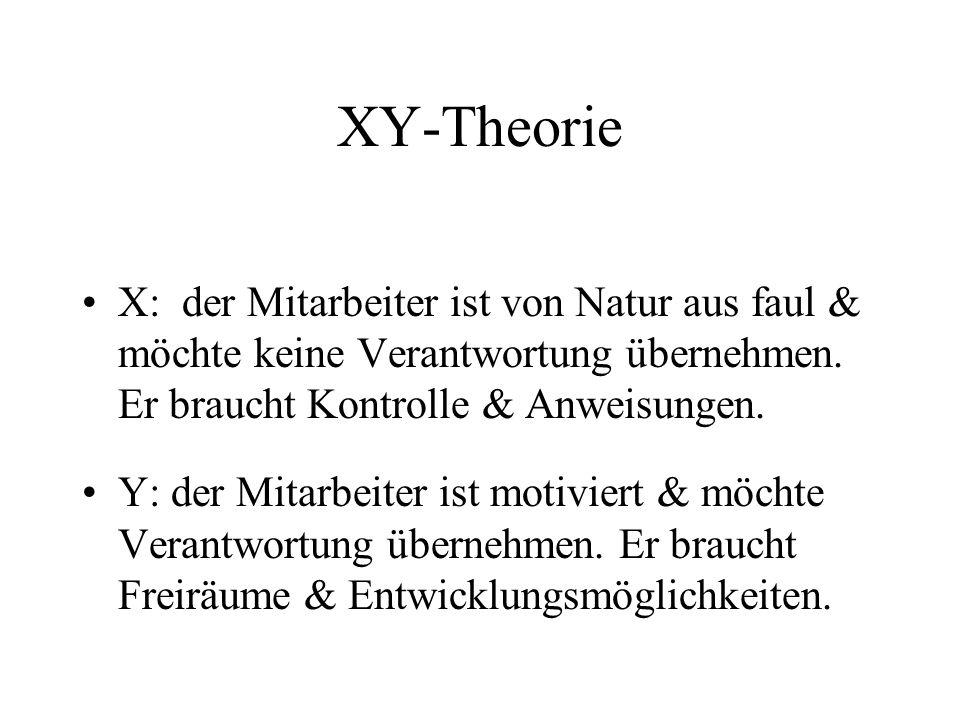 XY-Theorie X: der Mitarbeiter ist von Natur aus faul & möchte keine Verantwortung übernehmen. Er braucht Kontrolle & Anweisungen.