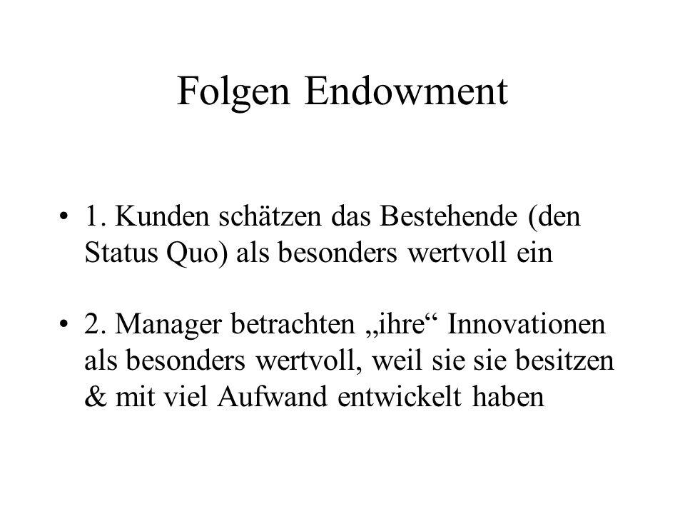 Folgen Endowment 1. Kunden schätzen das Bestehende (den Status Quo) als besonders wertvoll ein.