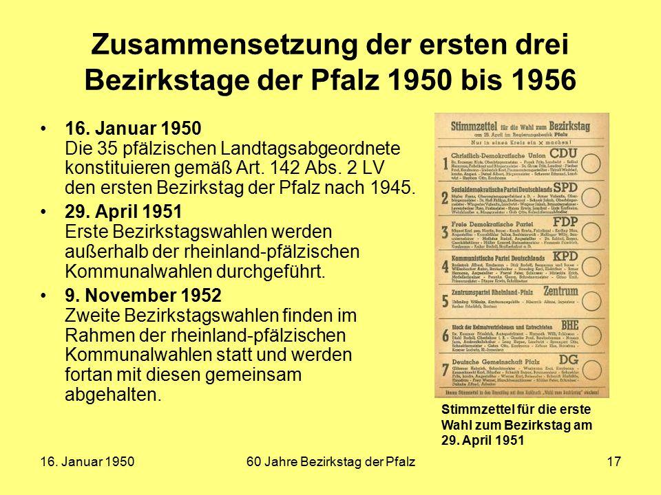 Zusammensetzung der ersten drei Bezirkstage der Pfalz 1950 bis 1956