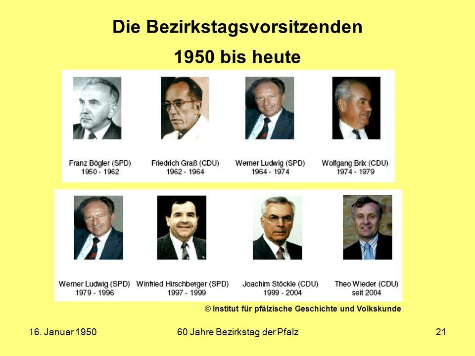 Die Bezirkstagsvorsitzenden 1950 bis heute