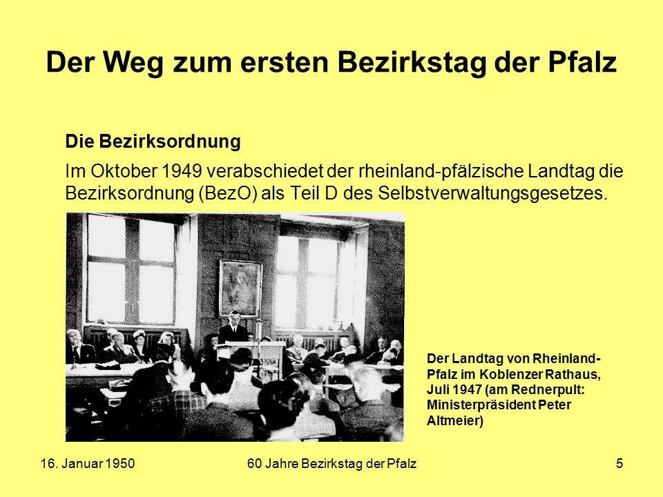 Der Weg zum ersten Bezirkstag der Pfalz