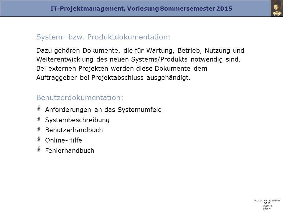 System- bzw. Produktdokumentation: