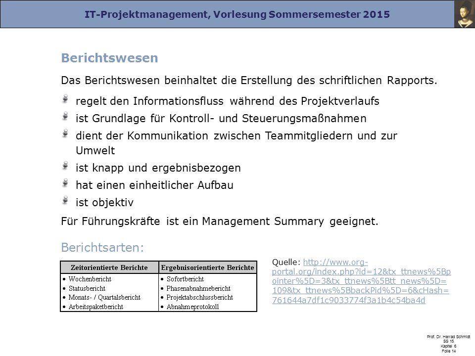 Berichtswesen Berichtsarten: