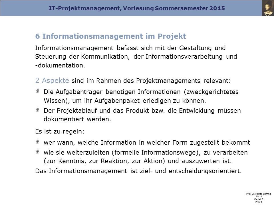 6 Informationsmanagement im Projekt
