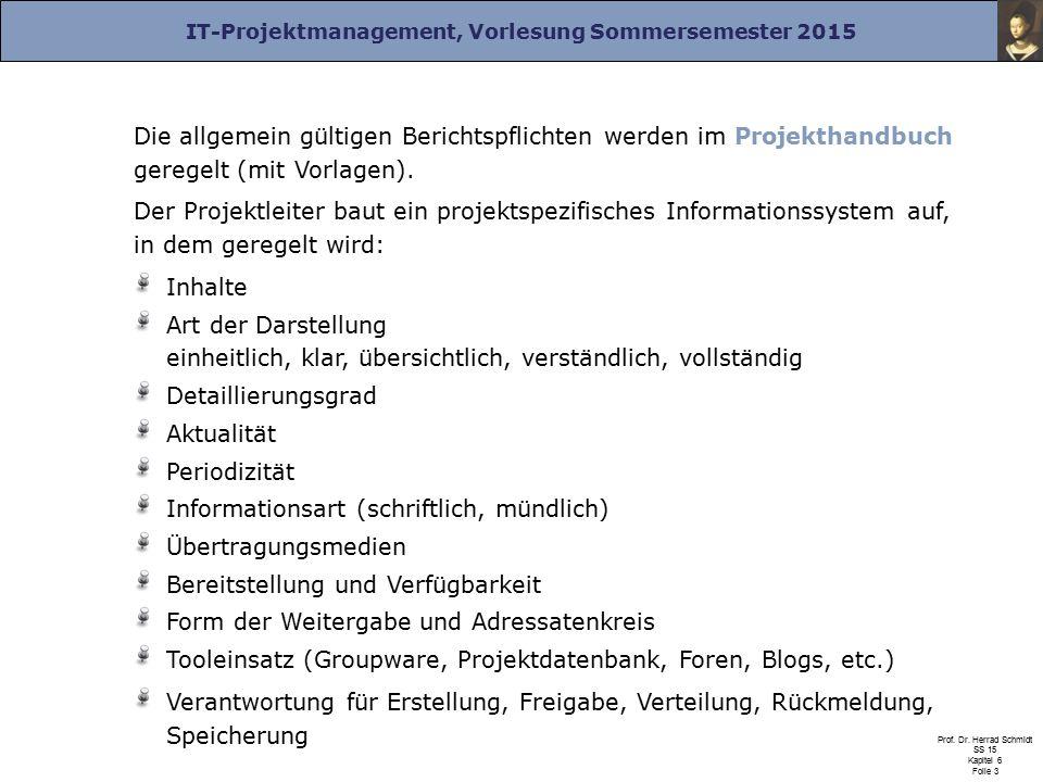 Die allgemein gültigen Berichtspflichten werden im Projekthandbuch geregelt (mit Vorlagen).