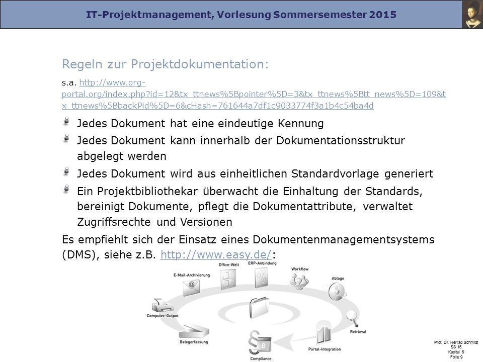 Regeln zur Projektdokumentation: