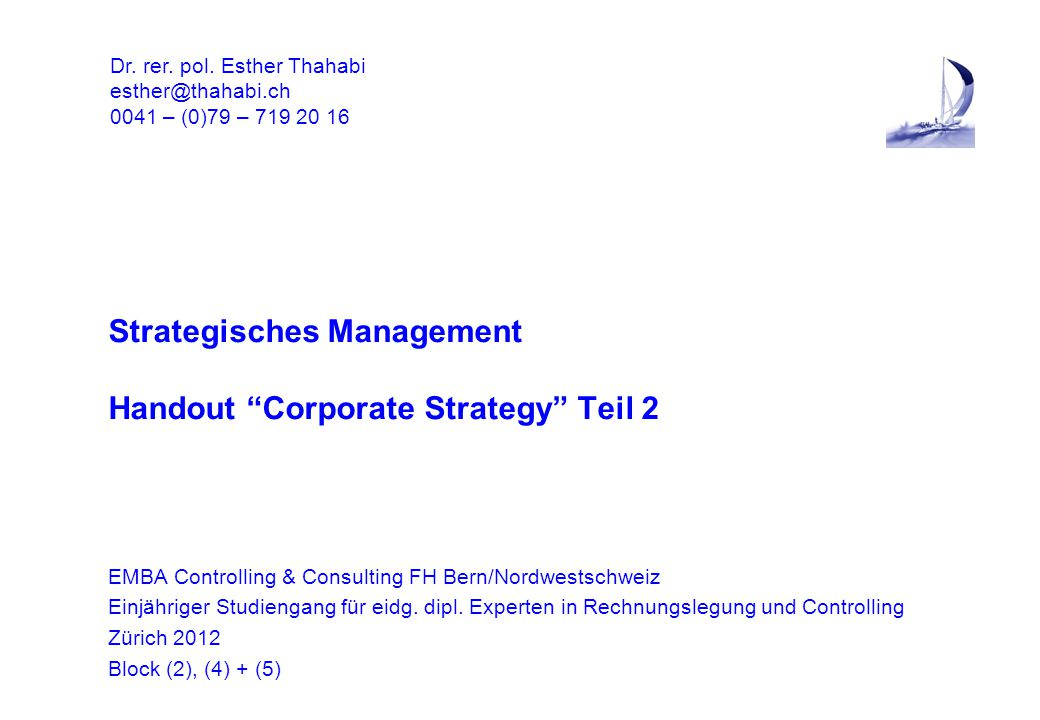Strategisches Management Handout Corporate Strategy Teil 2