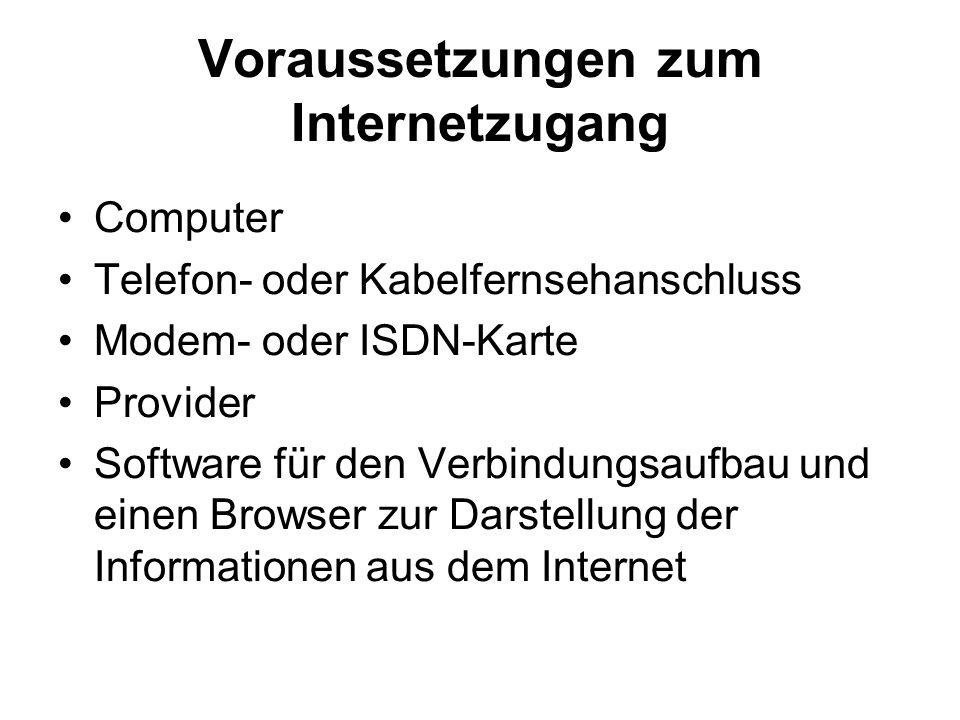 Voraussetzungen zum Internetzugang