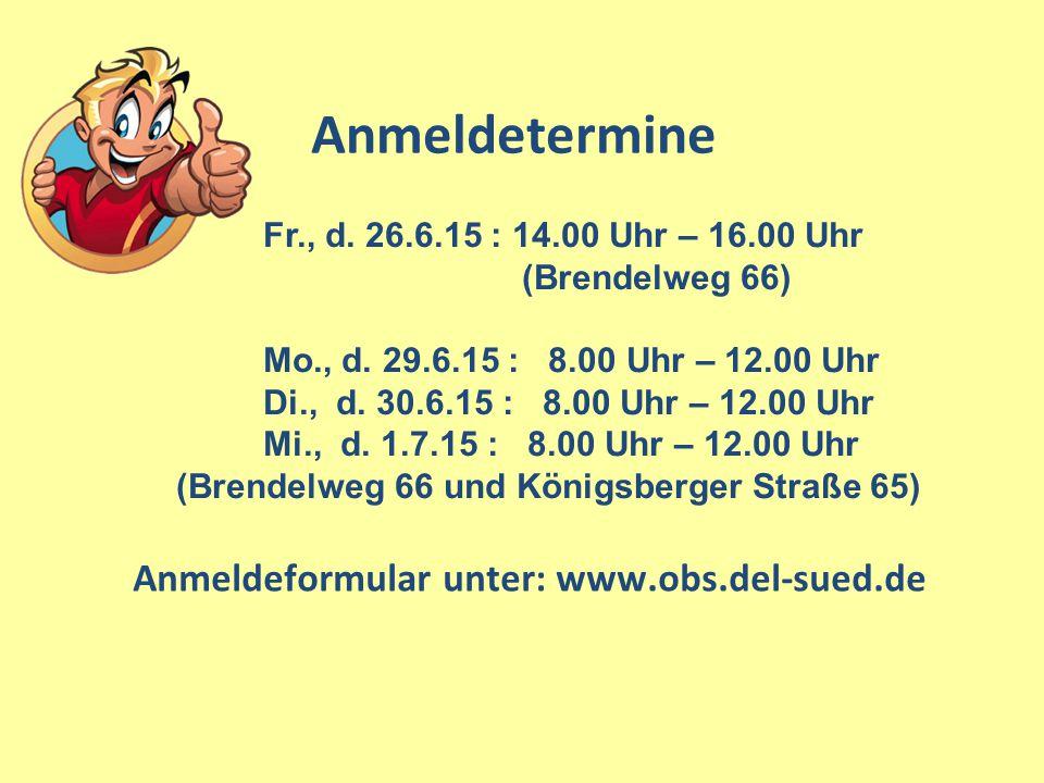 Anmeldeformular unter: www.obs.del-sued.de