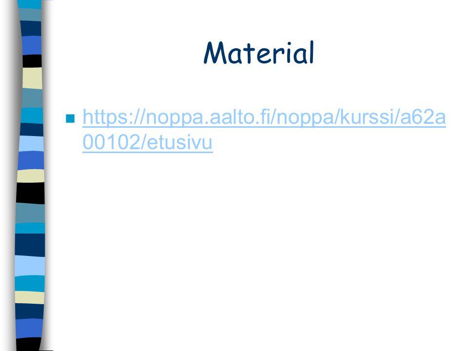 Material https://noppa.aalto.fi/noppa/kurssi/a62a00102/etusivu