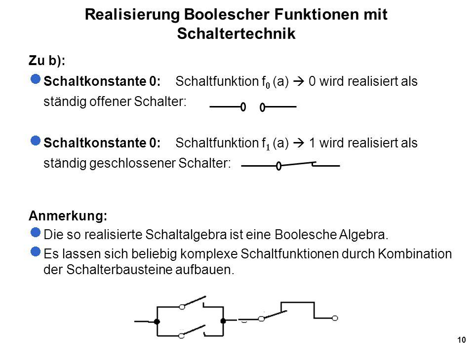 Realisierung Boolescher Funktionen mit Schaltertechnik