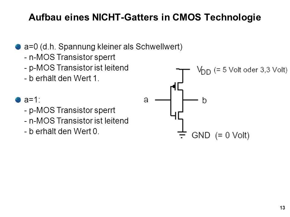 Aufbau eines NICHT-Gatters in CMOS Technologie