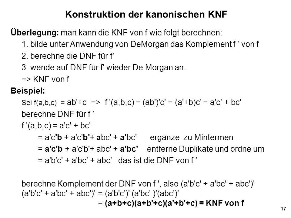 Konstruktion der kanonischen KNF
