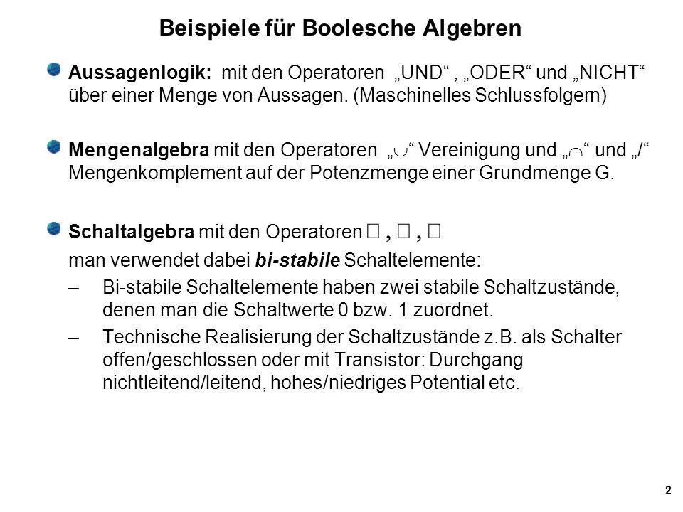 Beispiele für Boolesche Algebren