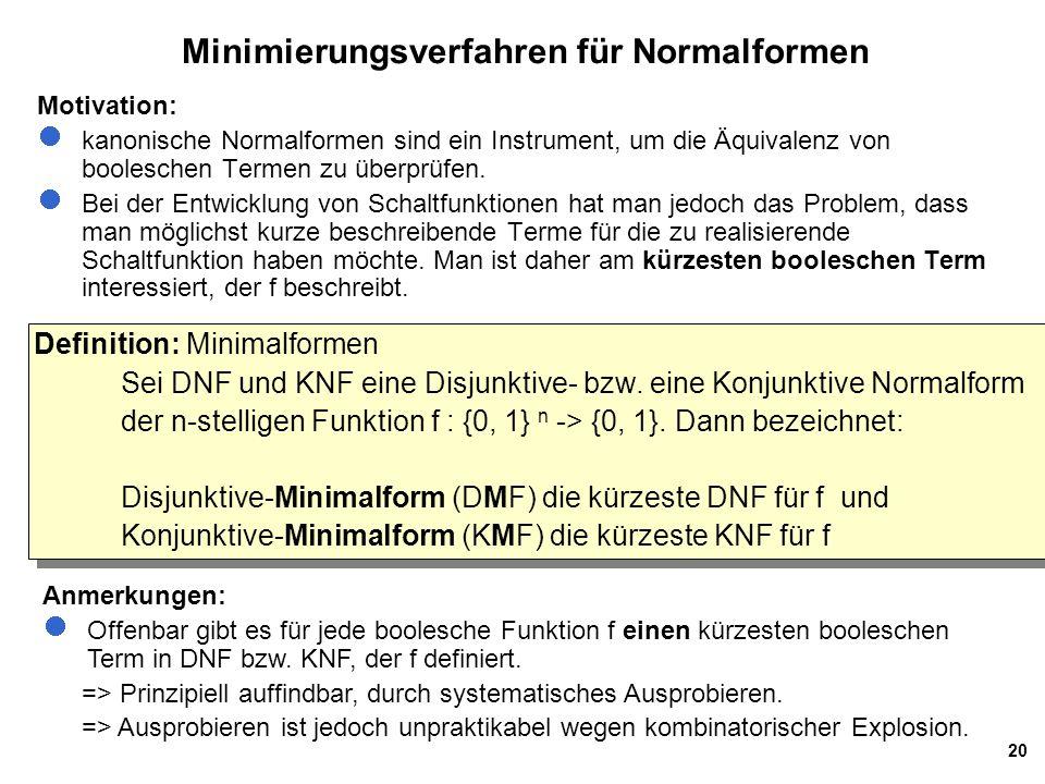 Minimierungsverfahren für Normalformen