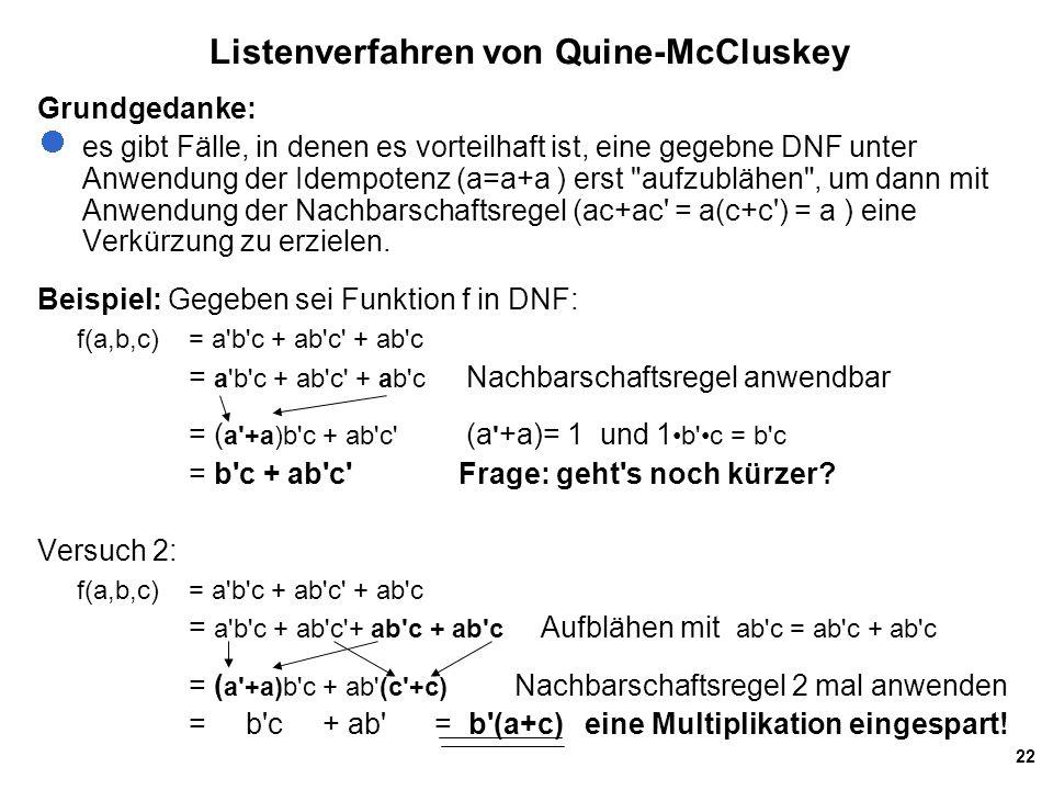 Listenverfahren von Quine-McCluskey