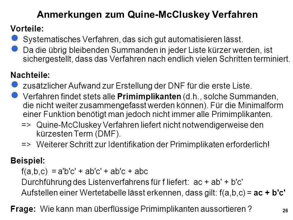 Anmerkungen zum Quine-McCluskey Verfahren