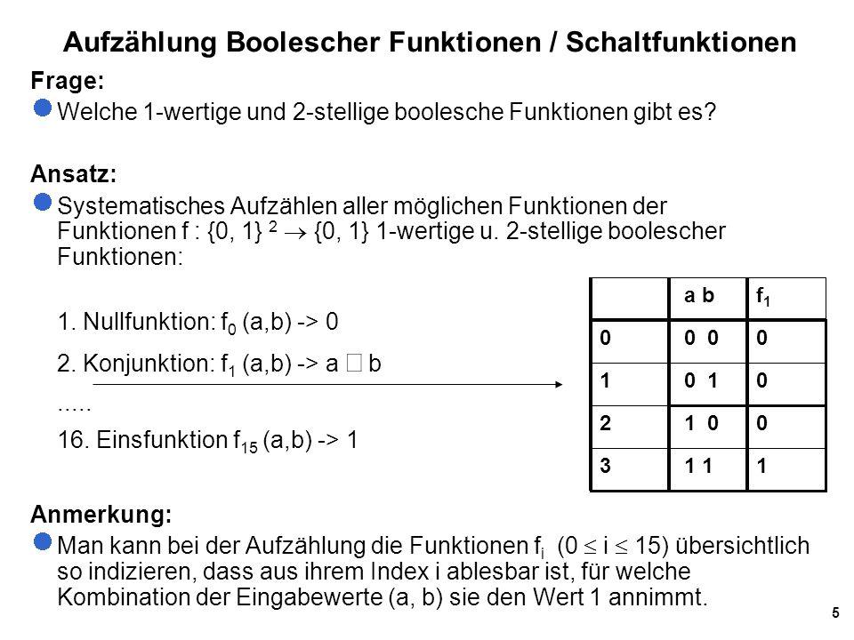 Aufzählung Boolescher Funktionen / Schaltfunktionen