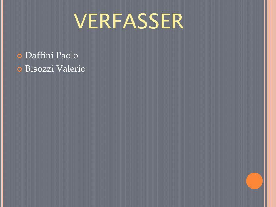 VERFASSER Daffini Paolo Bisozzi Valerio