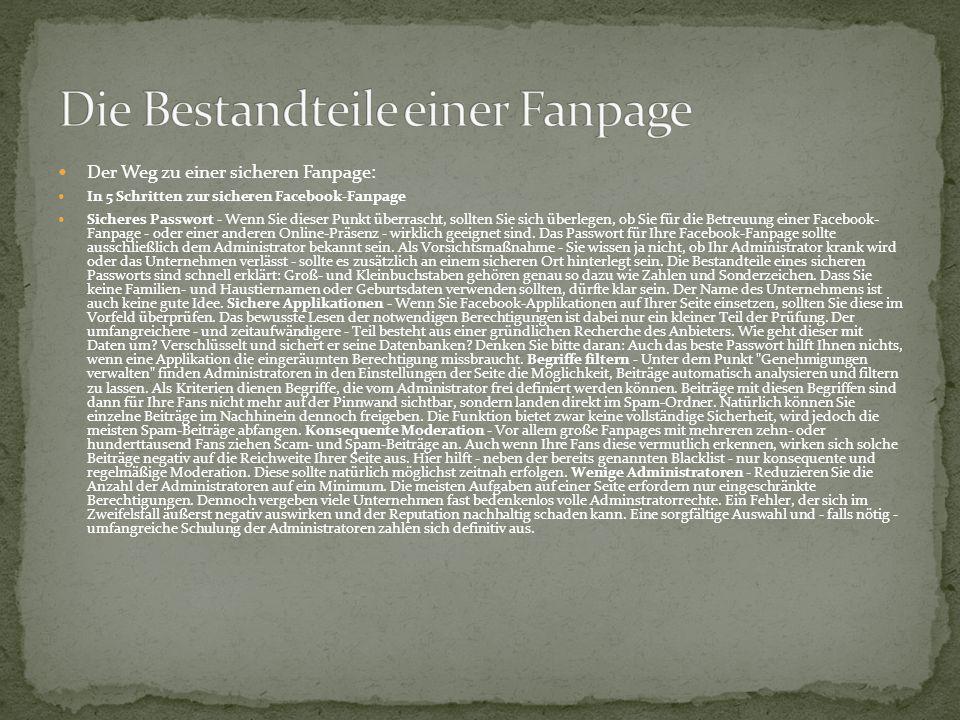 Die Bestandteile einer Fanpage