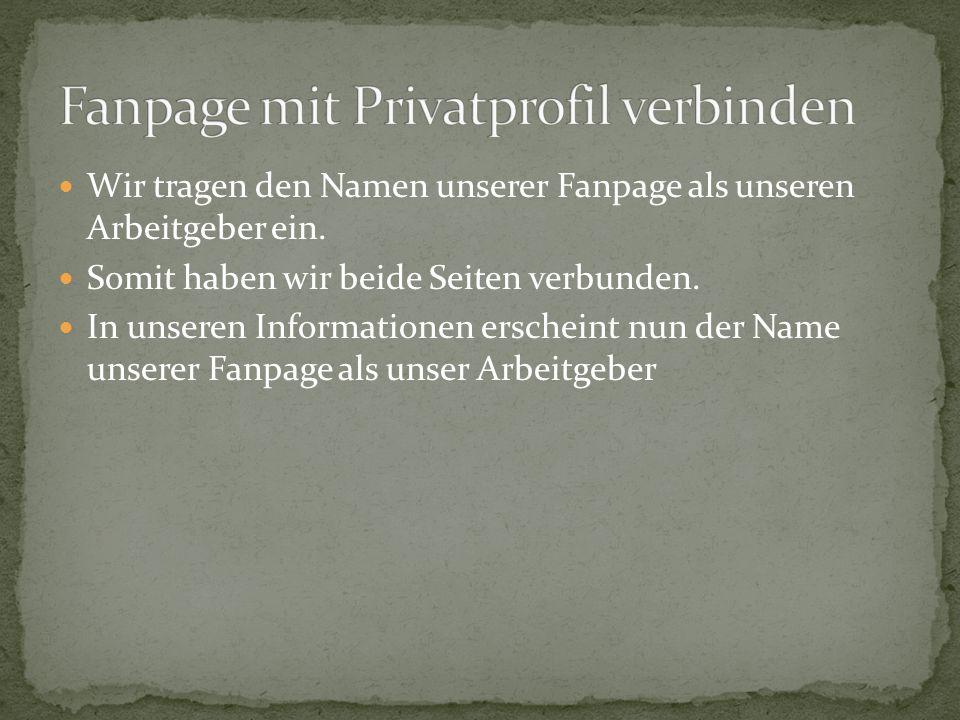 Fanpage mit Privatprofil verbinden