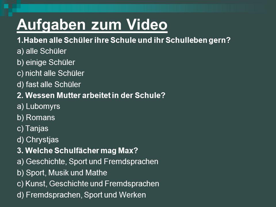 Aufgaben zum Video