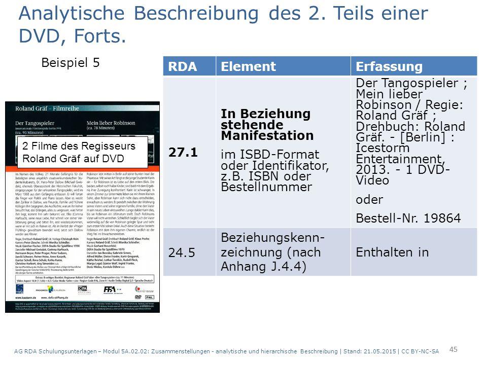 Analytische Beschreibung des 2. Teils einer DVD, Forts.