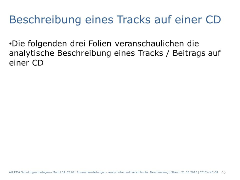 Beschreibung eines Tracks auf einer CD