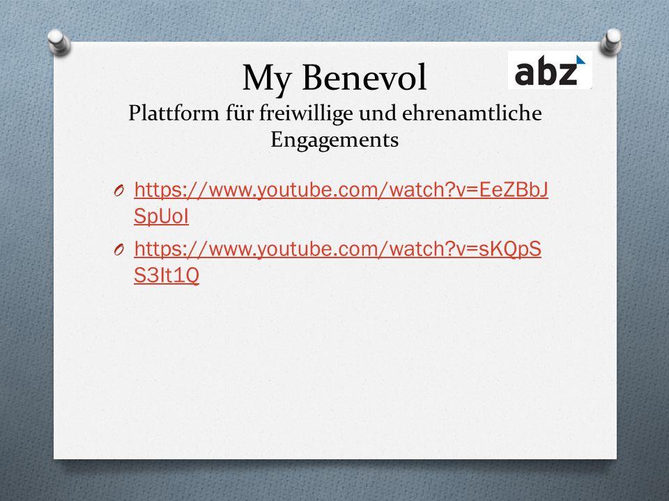 My Benevol Plattform für freiwillige und ehrenamtliche Engagements