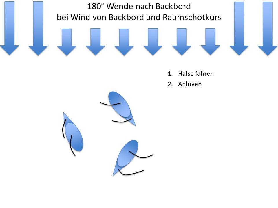 180° Wende nach Backbord bei Wind von Backbord und Raumschotkurs