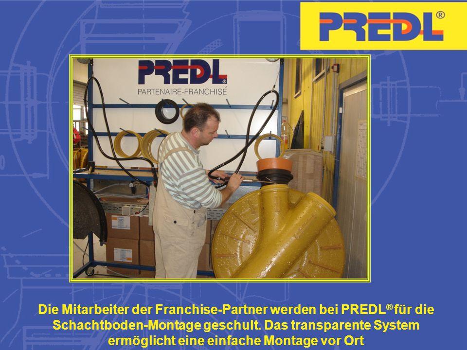 Die Mitarbeiter der Franchise-Partner werden bei PREDL® für die Schachtboden-Montage geschult.