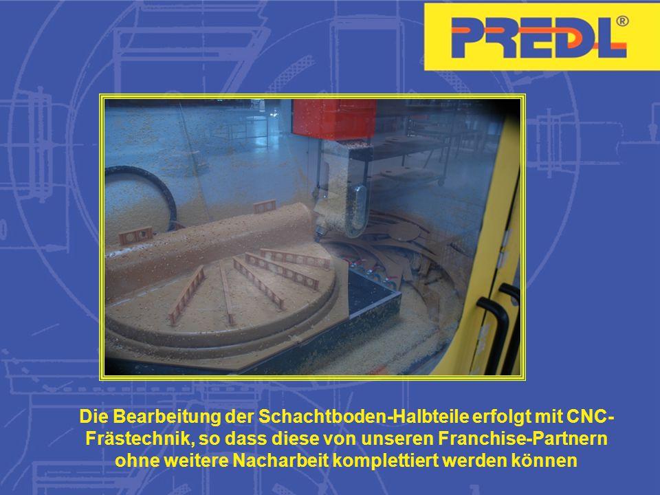 Die Bearbeitung der Schachtboden-Halbteile erfolgt mit CNC-Frästechnik, so dass diese von unseren Franchise-Partnern ohne weitere Nacharbeit komplettiert werden können