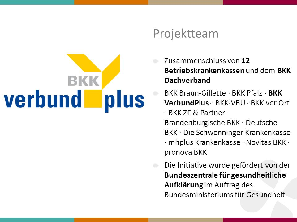 Projektteam Zusammenschluss von 12 Betriebskrankenkassen und dem BKK Dachverband.