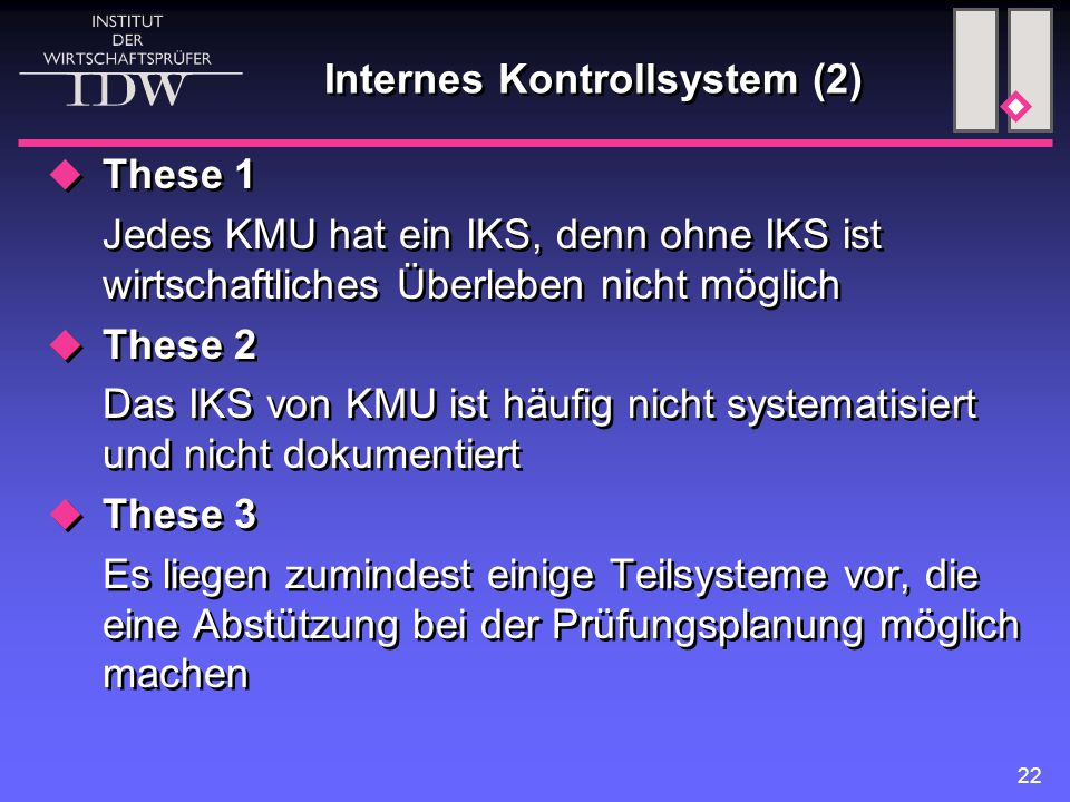 Internes Kontrollsystem (2)