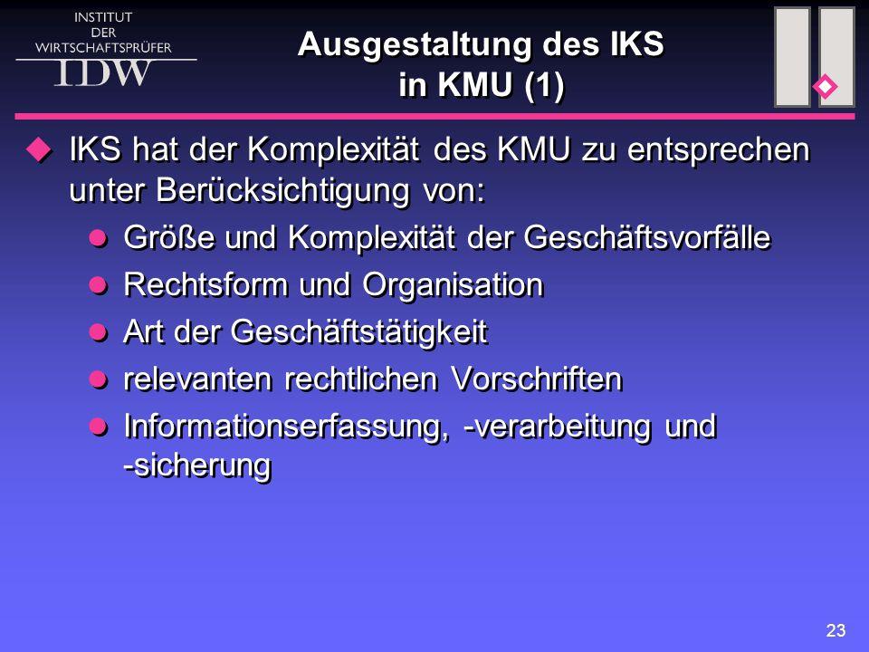 Ausgestaltung des IKS in KMU (1)
