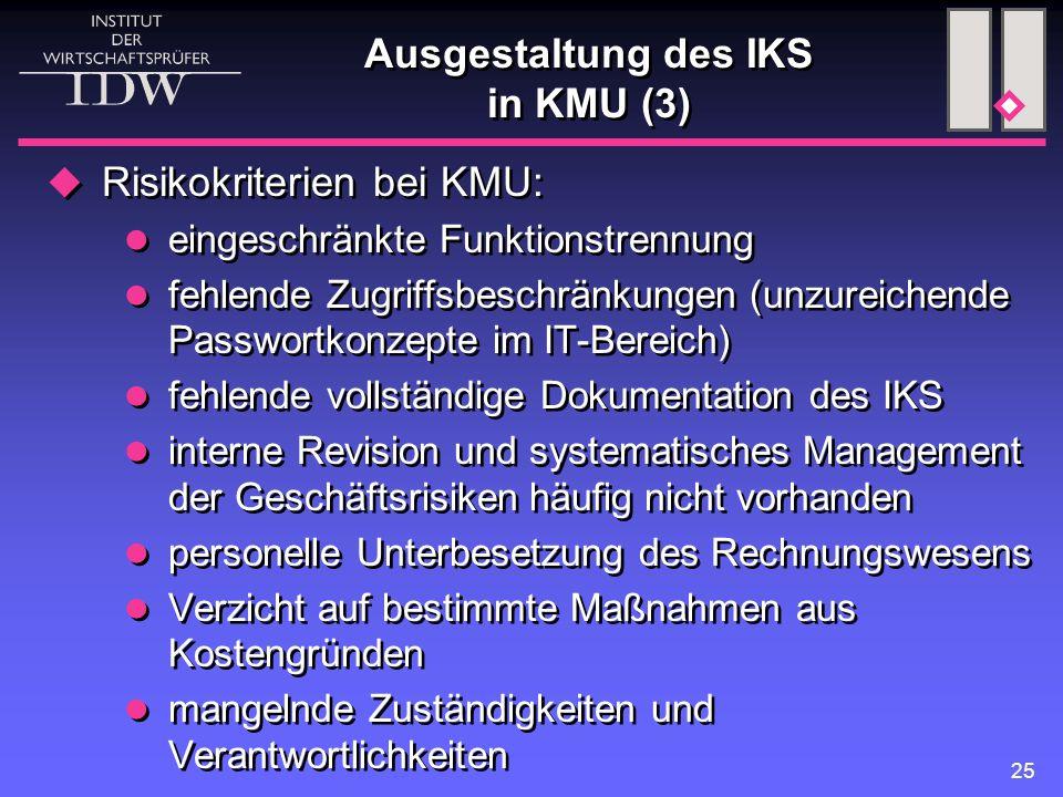 Ausgestaltung des IKS in KMU (3)