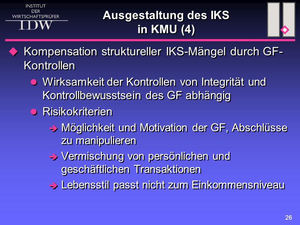 Ausgestaltung des IKS in KMU (4)