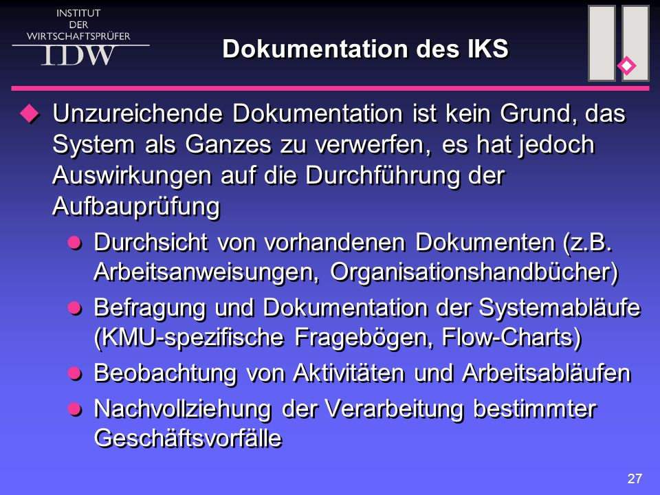 Dokumentation des IKS