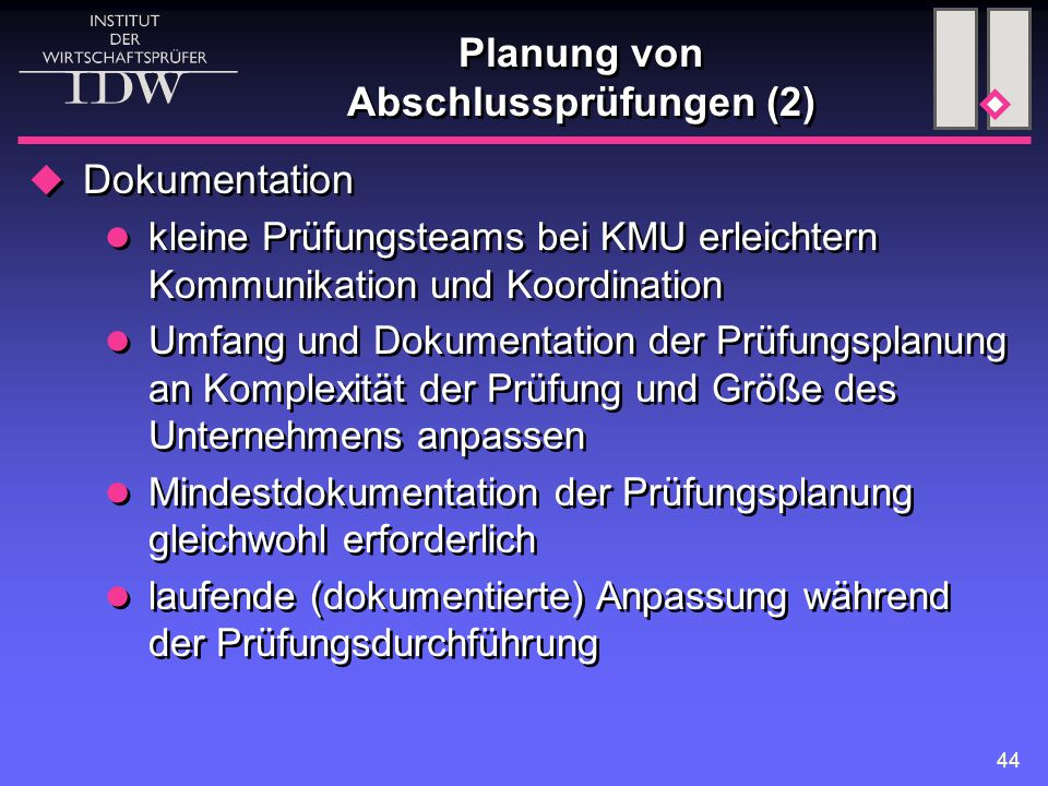 Planung von Abschlussprüfungen (2)