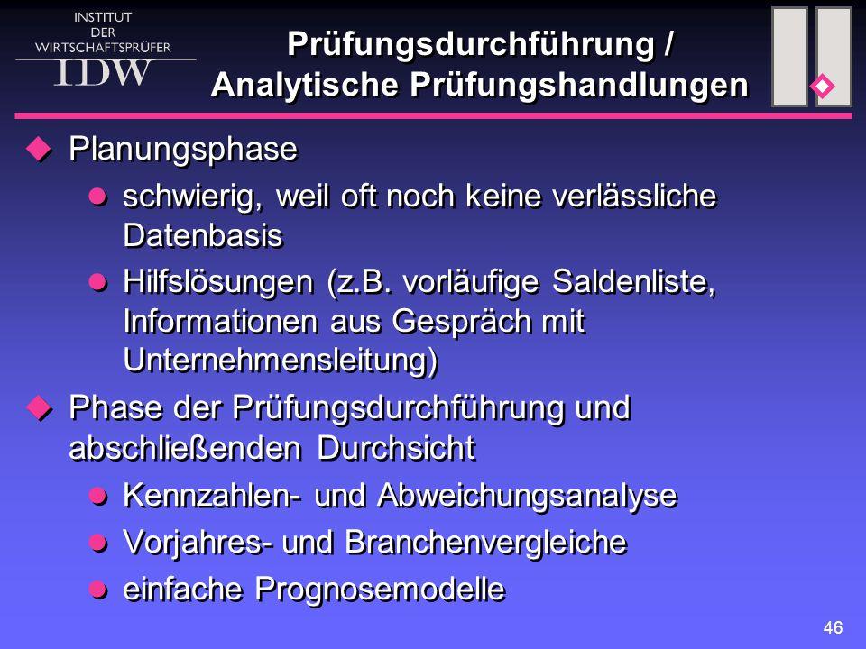 Prüfungsdurchführung / Analytische Prüfungshandlungen