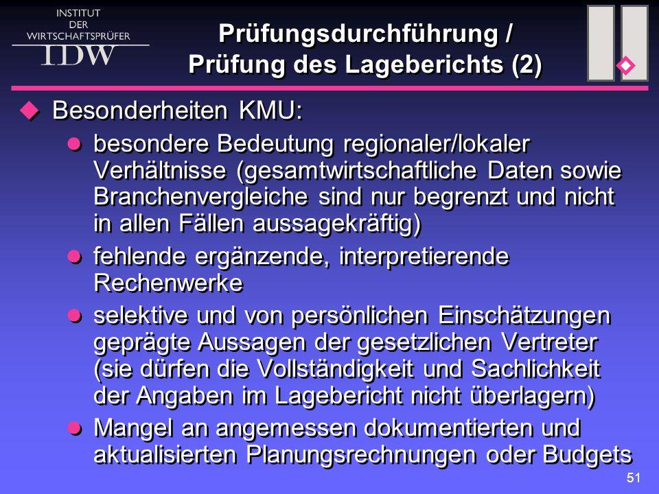 Prüfungsdurchführung / Prüfung des Lageberichts (2)