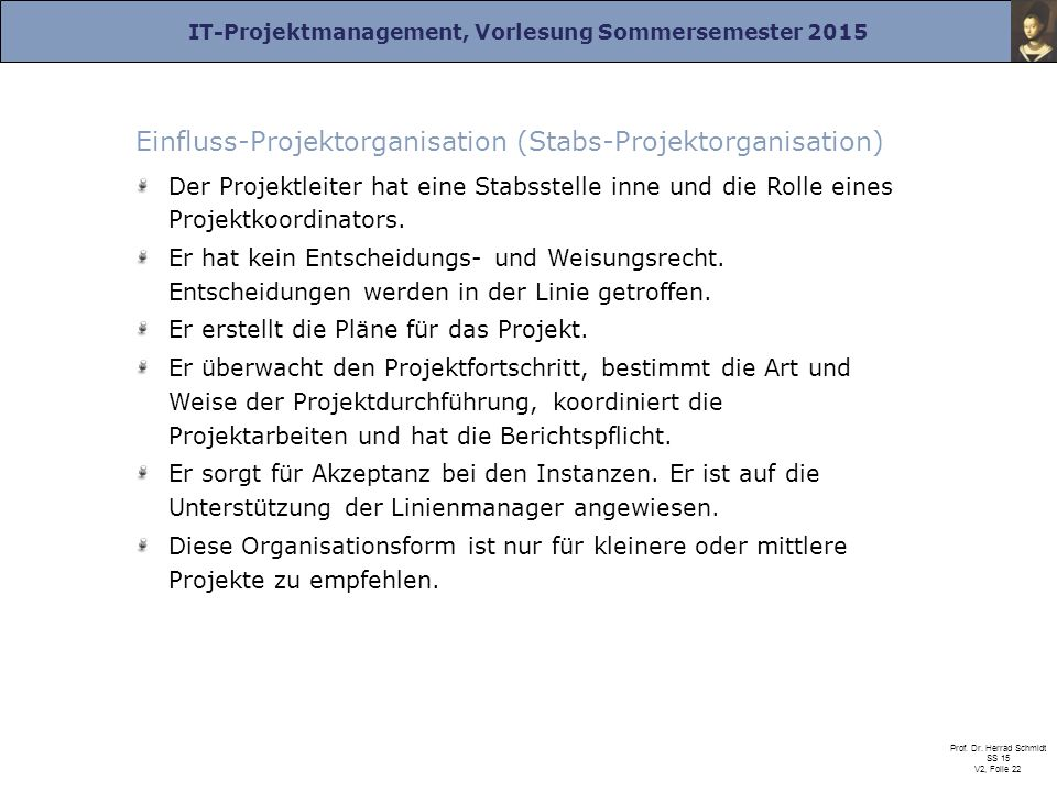 Einfluss-Projektorganisation (Stabs-Projektorganisation)
