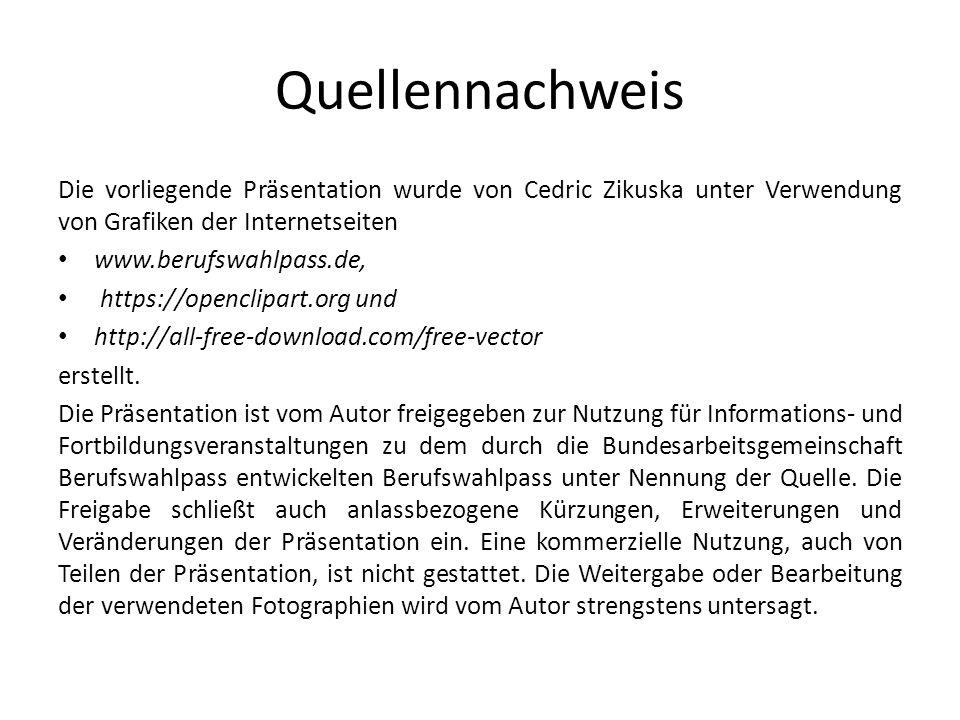 Quellennachweis Die vorliegende Präsentation wurde von Cedric Zikuska unter Verwendung von Grafiken der Internetseiten.